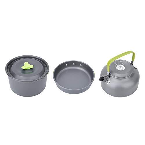 V GEBY Theepot Draagbare Korte Tuit Aluminium 2 Pan Koffie Theepot met Handvat Hittebestendige Outdoor Ketel voor Camping Wandelen