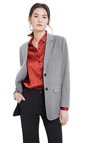 LilySilk Damen Blazer Business Büro Jäckchen aus Seidenfutter Fit Anzug Trenchcoat Grau S VERPACKUNG MEHRWEG