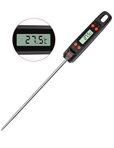 Habor Küchenthermometer, Bratenthermometer, Digital Grillthermometer, Lange Probe Fleischthermometer, 5s Sofortiges Auslesen für Küche, Grill, BBQ, Steak, Türkei, Süßigkeiten, Milch,