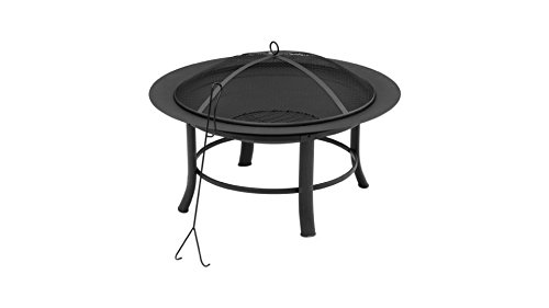 Mainstay 28' Fire Pit Includes a Spark Guard Mesh Lid with Lid Lift Features a Durable, High-Temperature Heat-Resistant Finish (1)