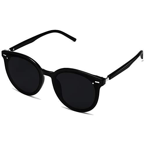 SOJOS Classic Round Retro Plastic Frame Vintage Inspired Sunglasses BLOSSOM SJ2067 with Black Frame/Grey Lens