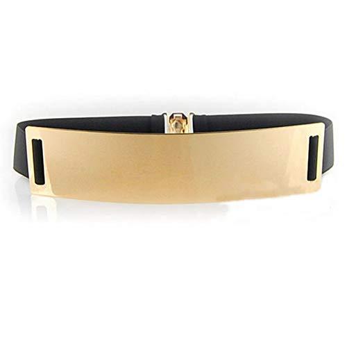 HaoPiDai Waist Belt For Women Dress Gold Elastic Womens Belts Wide Plaste 6cm Width