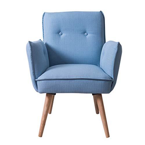 Sillón Nórdico Escandinavo, Butaca Comedor Salón Dormitorio, Sillón Acolchado con Reposabrazos Y Patas De Madera,Azul
