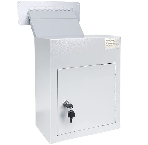 Mail Drop Box Through Wall - Wall Mount Drop Safe for Mail, Rent, Checks, and Cash - Wall Mount Mailbox with Key, 12.25   x 6.5   x 15   (Gray)