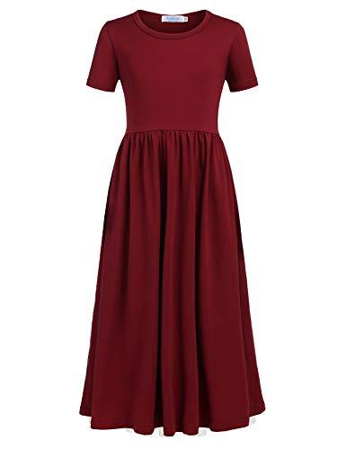 Meisjesjurk, katoen, maxi-jurk, korte mouwen, lange jurk met zakken, effen, prinsessen-T-shirt, jurken, zomer, schaatsen, ronde hals, vrijetijdskleding, maat 110-150, rood (rode wijn), 110 cm