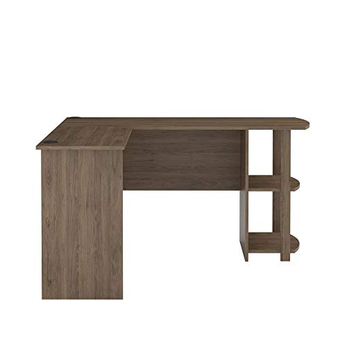 Ameriwood Home Dakota L-Shaped Desk with Bookshelves, Rustic Oak