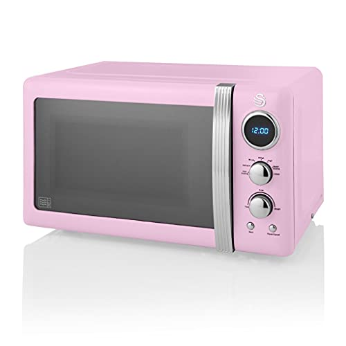 Swan Retro Digital Microwave Pink, 20 L, 800 W, 6 Power Levels Including Defrost Setting, SM22030PN