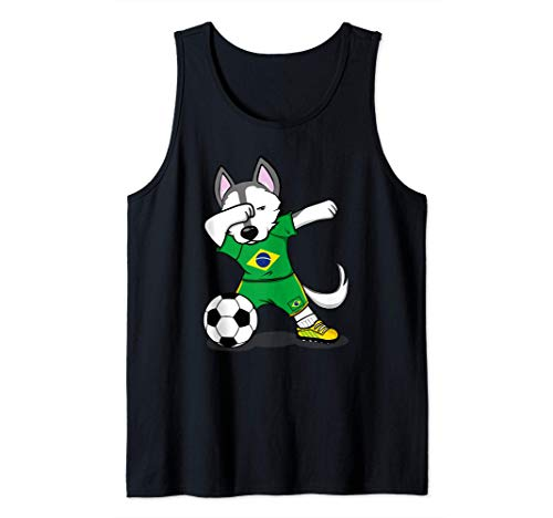 Dabbing Husky Dog Brasil Fútbol - Bandera brasileña Camiseta sin Mangas