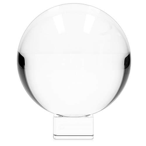 Navaris Bola de Cristal para fotografía - Esfera con Soporte - Bola de Vidrio K9 Transparente para decoración - Ø 130MM