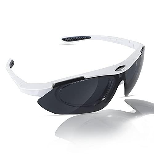 Aigoode Gafas de ciclismo polarizadas con 5 lentes intercambiables, protección UV400, para hombre y mujer, béisbol, correr, pesca, golf, conducir, gafas de sol blancas