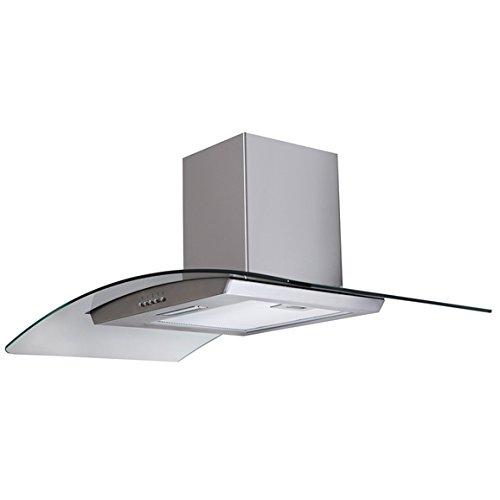 SIA - Campana de cocina de cristal curvado de 90 cm + filtro de carbón de recirculación: Amazon.es: Grandes electrodomésticos