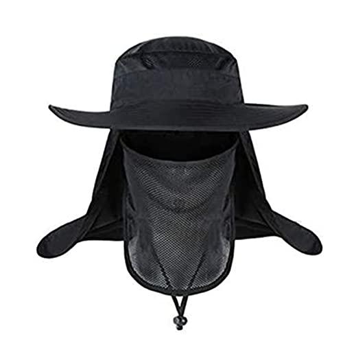 Sombrero de Sol,Gorra de Pesca al Aire Libre Nylon 360 ° Protección Solar Sombrero con Correa de Barbilla Ajustable y Corona de Malla Transpirable para Caza Paseo en Barco Excursionismo