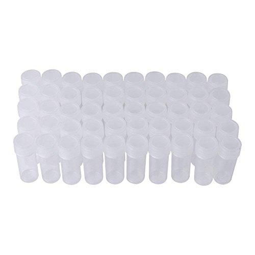 50 Stücke 5 ml Volumen Kunststoff Probenflaschen Kleine Vorratsbehälter Reagenzglas Vial Vorratsbehälter