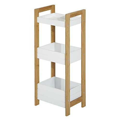 HOMCOM Estantería de Baño con 3 Estantes Organizador de Almacenaje Bambú para Cocina Sala de Estar Lavadero 27,5x20,8x74 cm Color Blanco...
