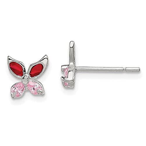 Diamond2Deal Pendientes de poste de mariposa esmaltada con circonita cúbica rosa de plata de ley...