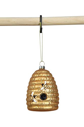 Creative Co-op Glass Beehive Ornament, Gold
