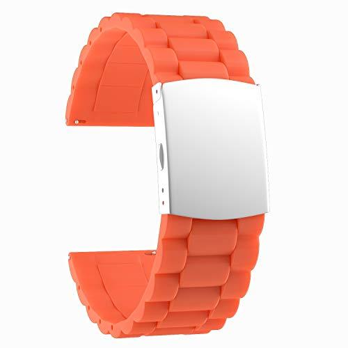 SOUWILA Correa Reloj Recambios Correa Relojes Caucho 16/18/20/22/24mm Silicona Correa Reloj con Acero Inoxidable Hebilla Desplegable (22mm, Orange-Silver)