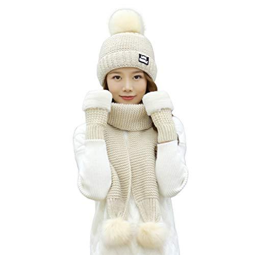 WEHOLY Guanti da Donna con Sciarpa Invernale Set 3 in 1 Cappello di Lana Regalo Carino per Bambini Coreani Regalo di Compleanno di Natale, Ha Elasticità