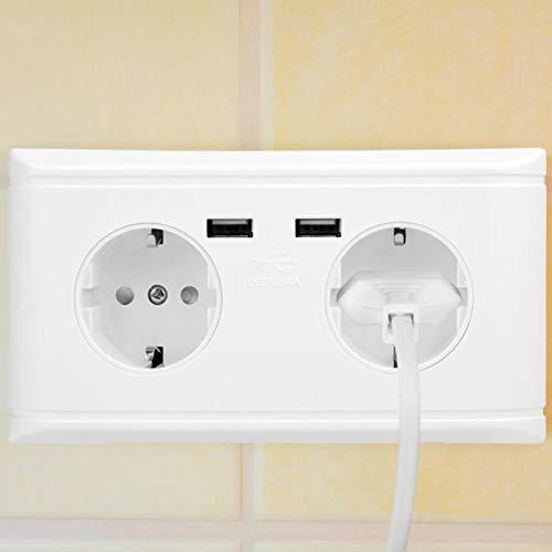 Caja de enchufe de pared USB de doble toma de corriente eléctrica, para el hogar, la oficina, el hotel, para otros lugares interiores