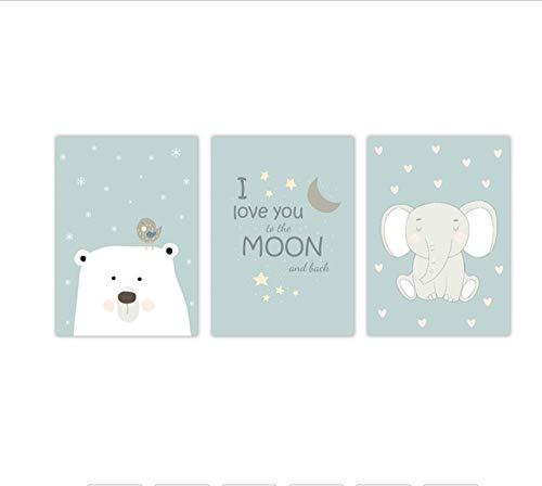 Zhaoyangeng Ik hou van je aan de maan en terug van de kinderen muur kunst poster baby kamer canvas afdrukken kinderkamer muur decoratie 50 x 70 cm x 3 stuks zonder lijst