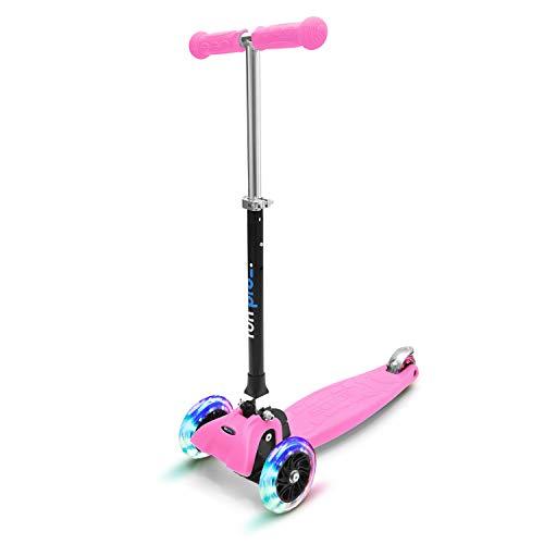 fun pro ONE - der sichere Premium Kinder Roller, LED 3 (DREI) Räder, faltbar, ab Kleinkind (Kickboard, Tretroller), für Junge und Mädchen, aus Hamburg mit erweiterter Garantie