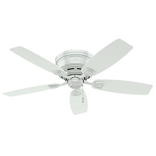 Hunter 53119 Sea Wind 48-inch ETL Damp Listed, White Ceiling Fan with Five White Plastic Blades (Renewed)