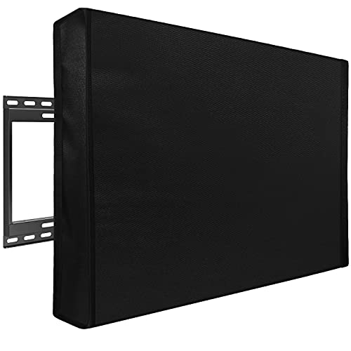 Mounting Dream Outdoor TV Cover Weatherproof with Bottom Cover for 60-65 inch TV, Waterproof and Dustproof TV Screen Protectors with Remote Control Pocket for Outside LED, LCD, OLED Flat Screen TVs