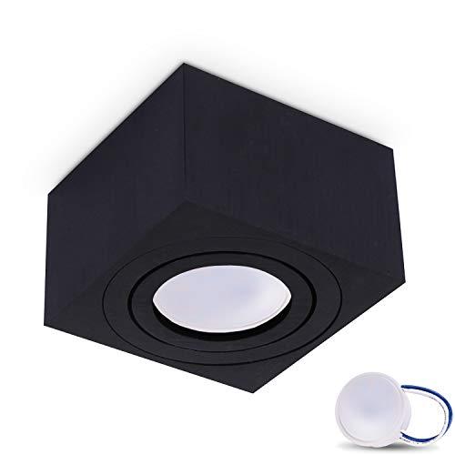 JVS Aufbauleuchte Aufbaustrahler Deckenleuchte Aufputz MILANO SMALL 5W LED Modul extra-flach Warmweiss 230V IP20 eckig schwarz schwenkbar Strahler Deckenlampe Aufbau-lampe Downlight aus Aluminium