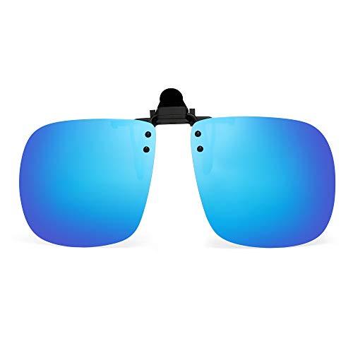 JM Polarisiert Clip auf Sonnenbrillen Rahmenlos Flip up Platz Stil Linsen für Rezept Brillen Spiegel Blau