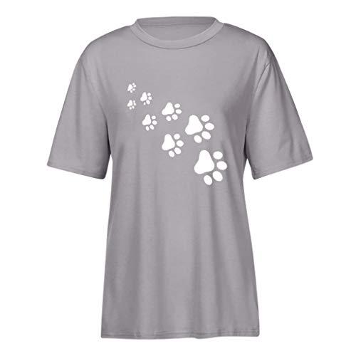 YUYOUG Blouse Femme, Hauts Mignons d'été pour Femmes Chemisier t-Shirt Manches Courtes for Women (Gray, XXXL)