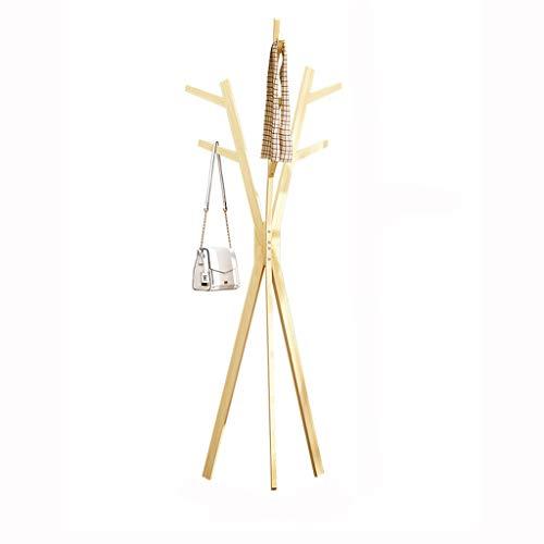 QIFFIY Perchero de pie con 7 ganchos, soporte de madera para la entrada, pasillo de pie, base de tres patas para colgar sombreros en la sala de estar, perchero de madera (color: C)