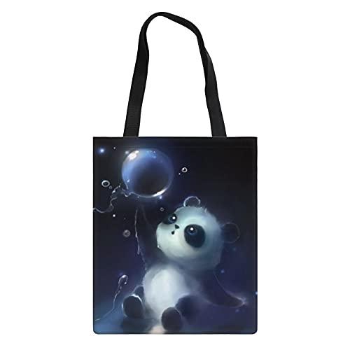 Showudesigns Panda Tote práctico bolso de compras reutilizable para mujeres, niños y niñas reciclar bolsas de compras lindas