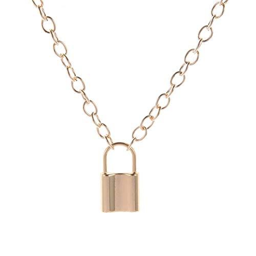 YDZS Collar de declaración Nuevo Hip Hop Collar de Capa Simple de joyería de la Vendimia Cadena con Cerradura Mujer/Hombre candado Colgante del Collar Regalos para Mujeres (Color : Gold Color)