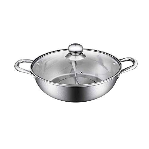 CJTMY Estufa de Acero Inoxidable Olla Hotpot Fogón de Gas Compatible Pot Inicio Cocina Artículos for cocinar Sopa de Cocina la Doble Dividido
