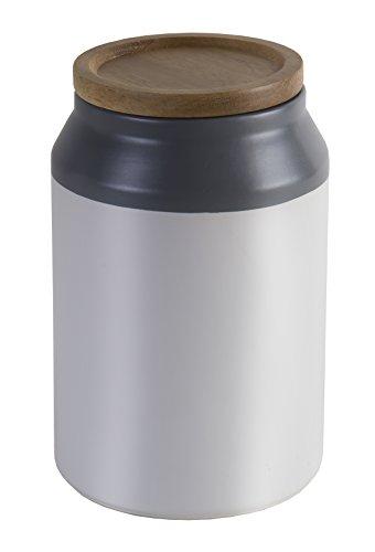 Jamie Oliver mittelgroßer Keramik-Behälter mit Deckel Storage, cremeweiß, anthrazit, 10 x 10 x 17,5 cm