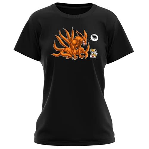 T-Shirt Femme Noir Parodie Naruto - Sonic - Kyubi and Tails - Traduction Anglais (T-Shirt de qualité Premium de Taille XL - imprimé en France)