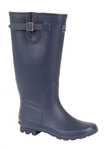 Botas de goma de lluvia o nieve para señoras en azul marino, pantorrilla ancha