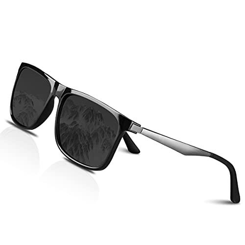 CHEREEKI Gafas de sol Hombre Polarizadas Mujer Gafas Sol Retro Clásico 100% UV400 Protección Super Ligero Marco Aviador Golf Pesca Conducción Aire Libre Deportivas Gafas (Gris)