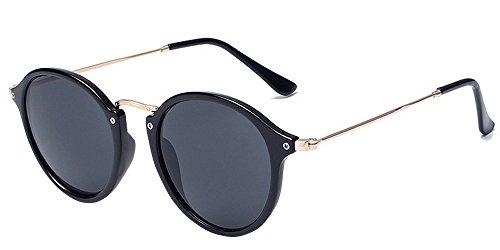 BOZEVON Retro Metall Cateye Sonnenbrillen - Vintage Rund Sonnenbrille für Damen & Herren Schwarz-Schwarz