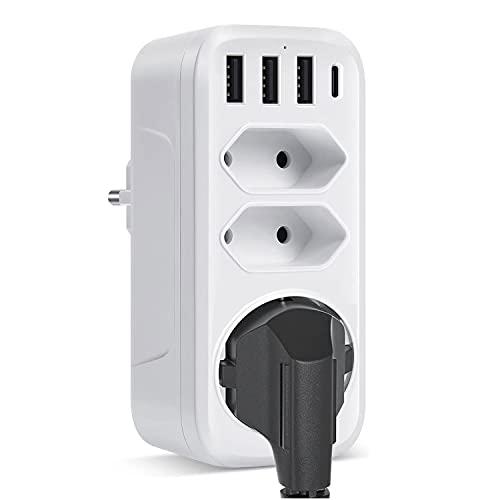 Adaptador de Enchufe,7 en 1 USB ladron enchufes, con 1 Toma de CA Clavija Schuko+2 Enchufe EU+1 Puerto Tipo C + 3 Puertos USB,Enchufe Portátil por Familia ,Officio e Viaje