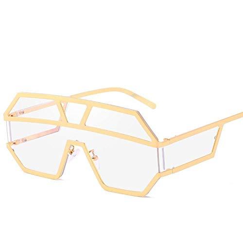 KONGYUER Zonnebril, Fashion Punk White Lens Siam Golden metalen frame, unisex platte glazen UV-bescherming 400 UV, geschikt voor paardrijden, fietsen, hardlopen, skiën, vissen, onverwoestbaar - lange levensduur