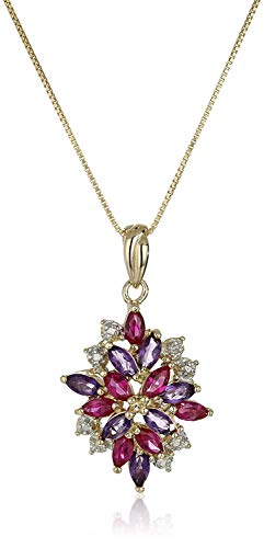 """18K Yellow Gold-Plated .925 Sterling Silver Diamond-Accented Amethyst and Lab-Grown Ruby 1-1/4"""" Pendant Necklace on 18"""" Box Chain"""