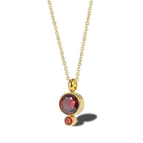 NSXLSCL Vrouwen Ketting Stijlvolle Geometrische Ronde Met Rode Diamanten Goud Hanger Ketting, Voor Vrouwen Verjaardag Accessoires Worn Daily