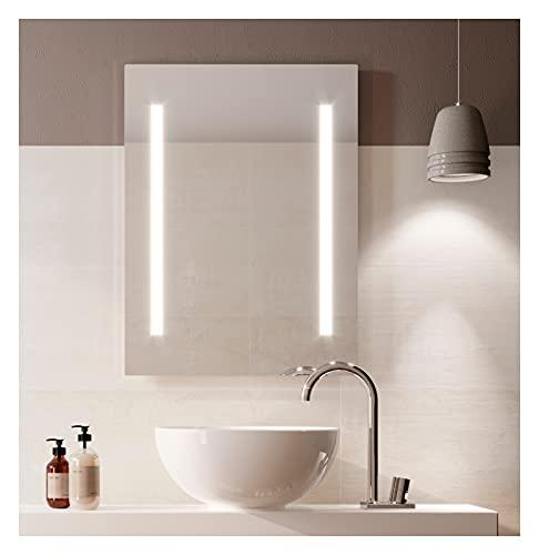 Espejo de baño con Luz Led Twin 80x100 Vertical. Espejo de Pared Baño Barato. Espejo Moderno baanio de iluminación Led para Baño, Recibidor o Dormitorio de Fácil Montaje. Índice Protección IP44