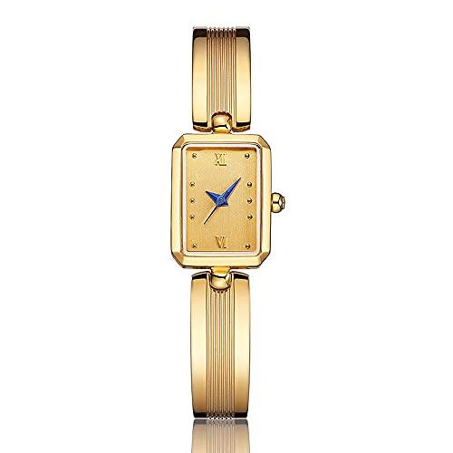 Relojes De Pulsera para Mujeres Pequeño Reloj De Oro Cuadrado Compacto Pequeño Dial Reloj De Mujer Temperamento Retro Pulsera Impermeable Reloj Movimiento De Cuarzo Reloj De Mujer (Color : Gold)