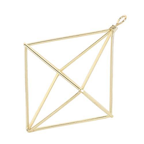 TOOGOO Jardineras Colgantes Independientes Columpio GeoméTrico Hierro Forjado Tillandsia Plantas de Aire Soporte Estante de Metal con Forma Triangular Oro