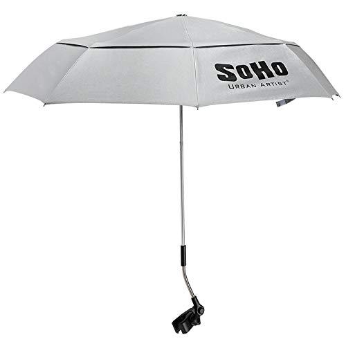 Soho Urban Artist UV Protection Sunscreen Easel Umbrella, Mountable, Waterproof & Flexible Gooseneck with Clamp Mount -Grey 42 Inch Open Diameter