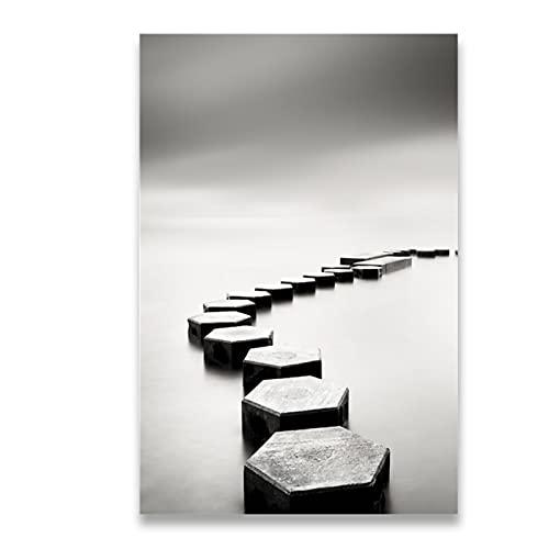 Lienzo pintura paisaje blanco y negro puente de piedra carteles arte de la pared imágenes impresas para la decoración del hogar de la sala de estar50x70 cm x1 sin marco