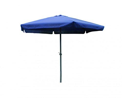 3 meter Sonnenschirm mit Kurbel blau