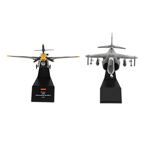 #N/A 2pcs 1/72 Jet Fighter British Plane + Bf-109 / Me-109 Diecast Aircraft Model